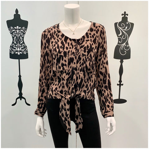Silver Wishes Leopard Print Long Sleeve Top