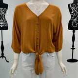 Silver Wishes Tie Waist Long Sleeve Top Tan