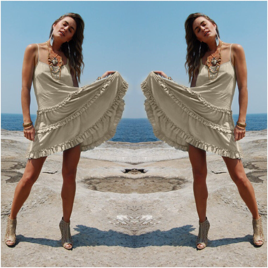 White Sandstorm Tiered Cotton Sun Dress Natural