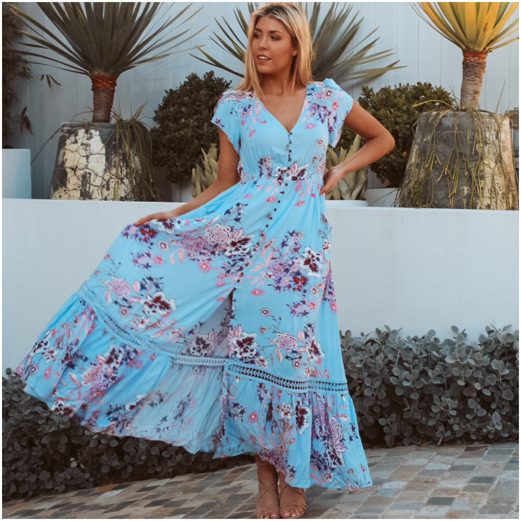 Dreamcatcher Floral Wildflower Maxi Dress Baby Blue