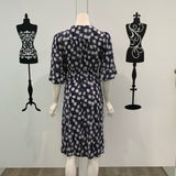 Willow Tree Daisy Print Midi Dress Navy