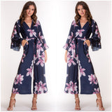 Emily Frill Sleeve Floral Jumpsuit Navy