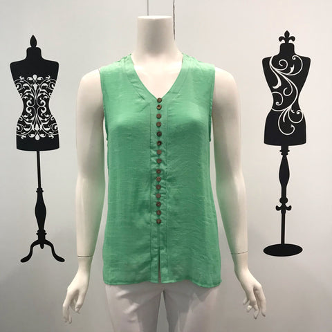 Missy Q Button Detail Sleeveless Top Mint