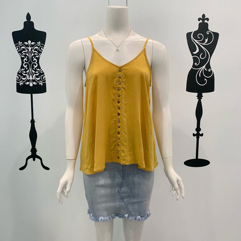 Silver Wishes Button Detail Singlet Mustard