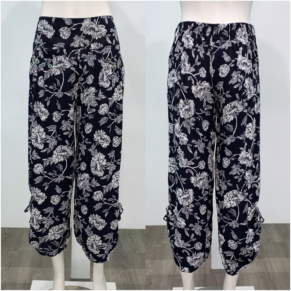 Quelque Button Detail Flower Print Harem Pants Navy