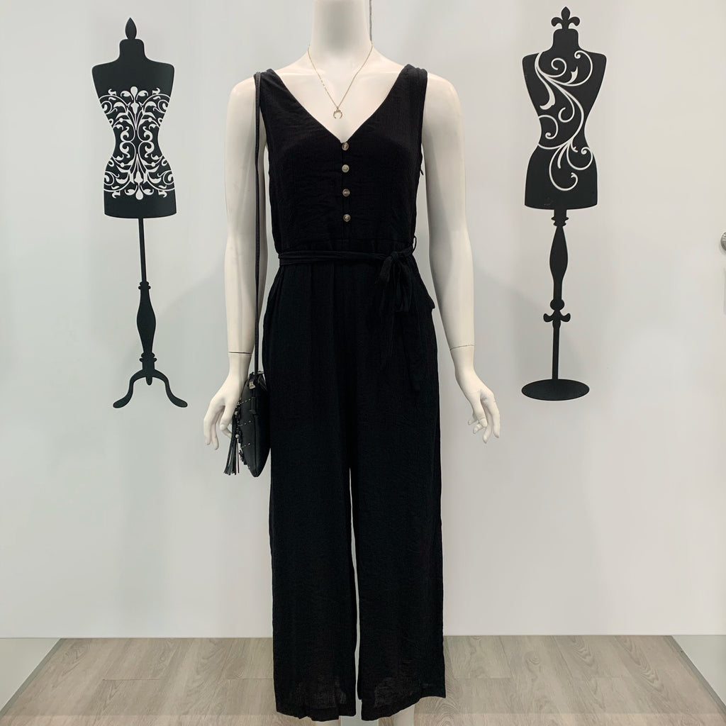 Nova Button Through Textured Jumpsuit Black