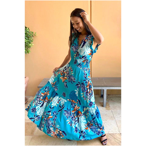 Willow Tree Frill Sleeve Floral Maxi Dress Teal