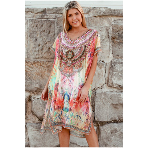 Isabella Boho Embellished Kaftan Yellow Multi