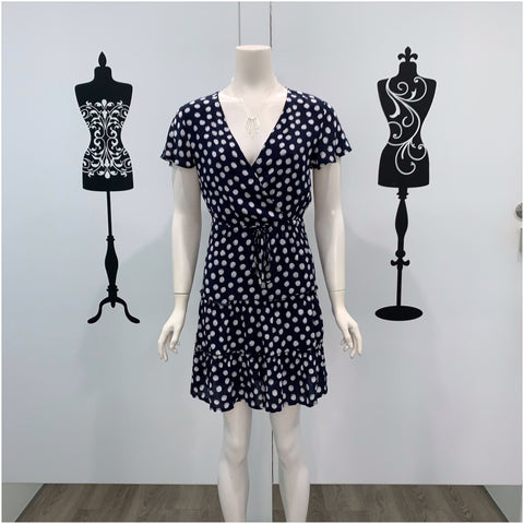 Maddie Tiered Polka Dot Print Dress Navy