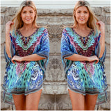 Isabella Boho Abstract Print Kaftan Purple