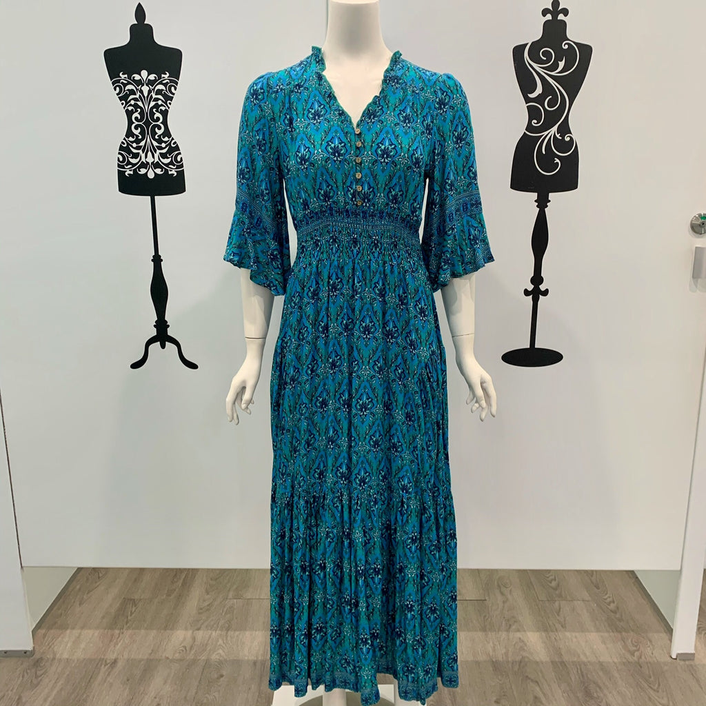 Willow Tree Frill Sleeve Maxi Dress Teal