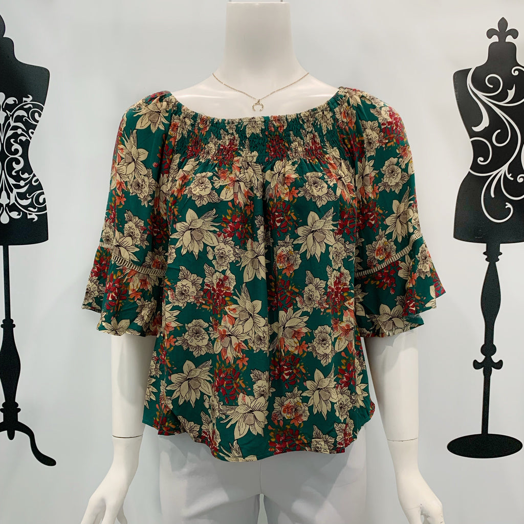 Missy Q Floral Print Frill sleeve top Green