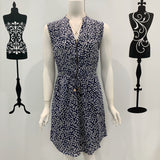 Piper Daisy Print Zip Dress Navy