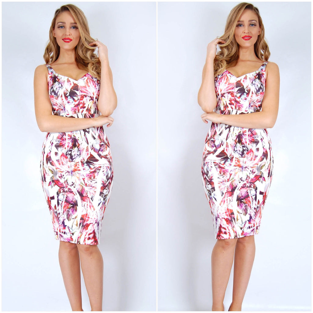 Teaberry V Neckline Abstract Floral Print Dress