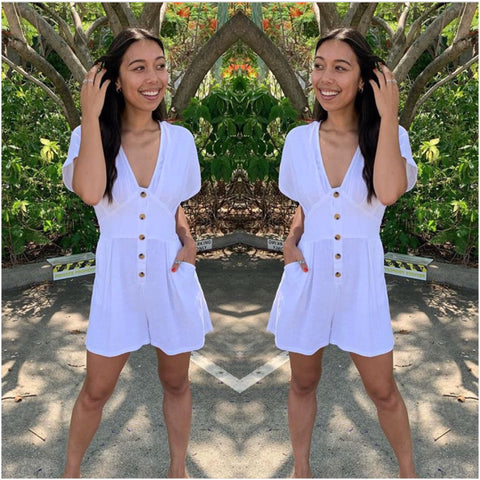 Silver Wishes Button Through Playsuit White