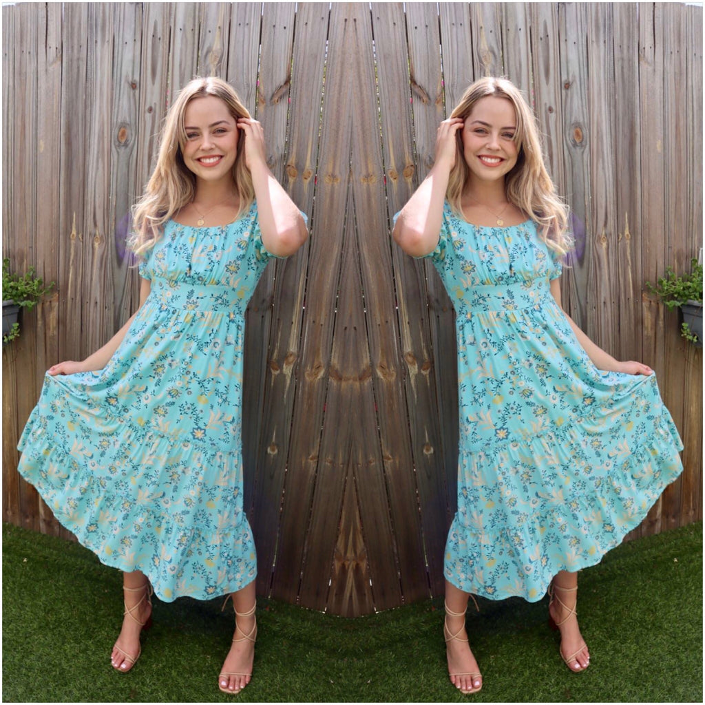 Silver Wishes Floral Print Tiered Dress Blue
