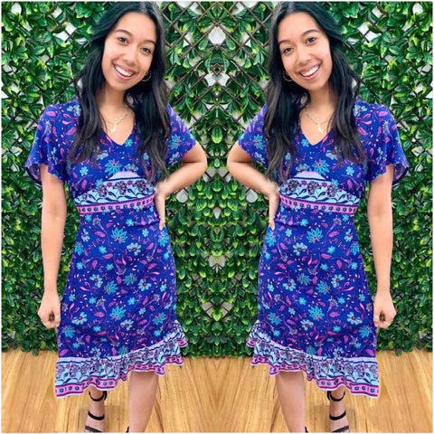 Silver Wishes Floral Border Print Dress Cobalt Blue