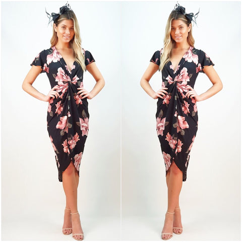 Teaberry Rose Print Asymmetrical Dress