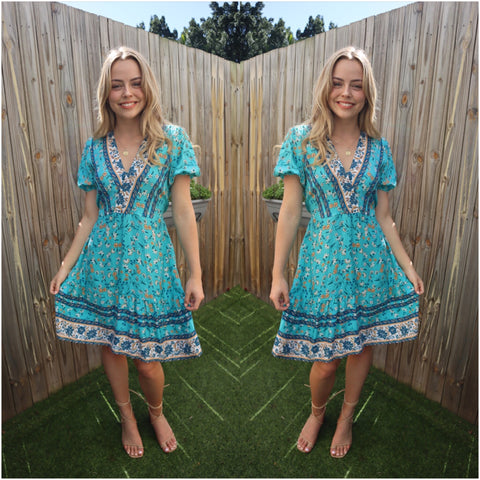 Silver Wishes Flower Print Border Dress Aqua