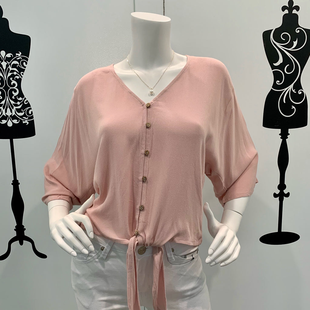 Silver Wishes Tie Waist Long Sleeve Top Light Pink