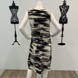 Missy Q Abstract Stripe Print Dress Black-Grey