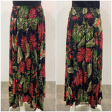 Missy Q Tropical Leaf Print Maxi Skirt Black