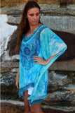 Isabella Boho Abstract Print Kaftan Light Blue
