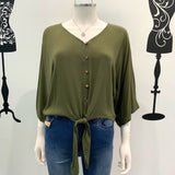 Silver Wishes Tie Waist Long Sleeve Top Khaki