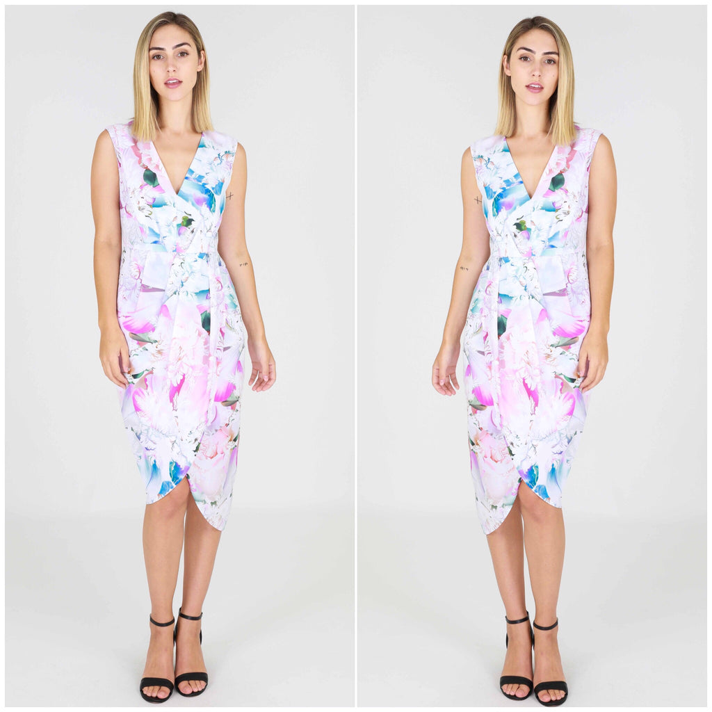 Third Love Pastel Floral Print Midi Dress