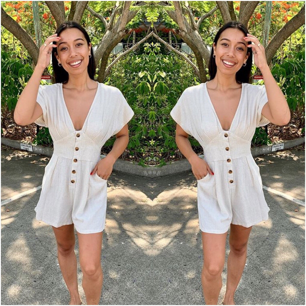 Silver Wishes Button Through Playsuit Wheat