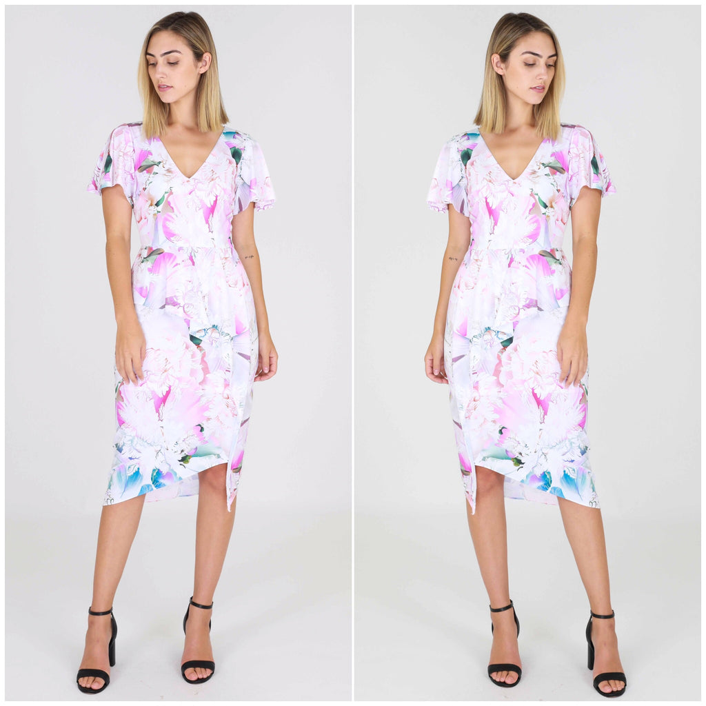 Third Love Pastel Floral Print Flutter Sleeve Peplum Dress
