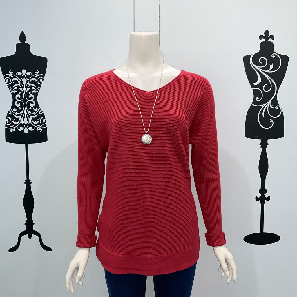 Silver Wishes Ribbed Long Cotton Jumper Ruby Pink