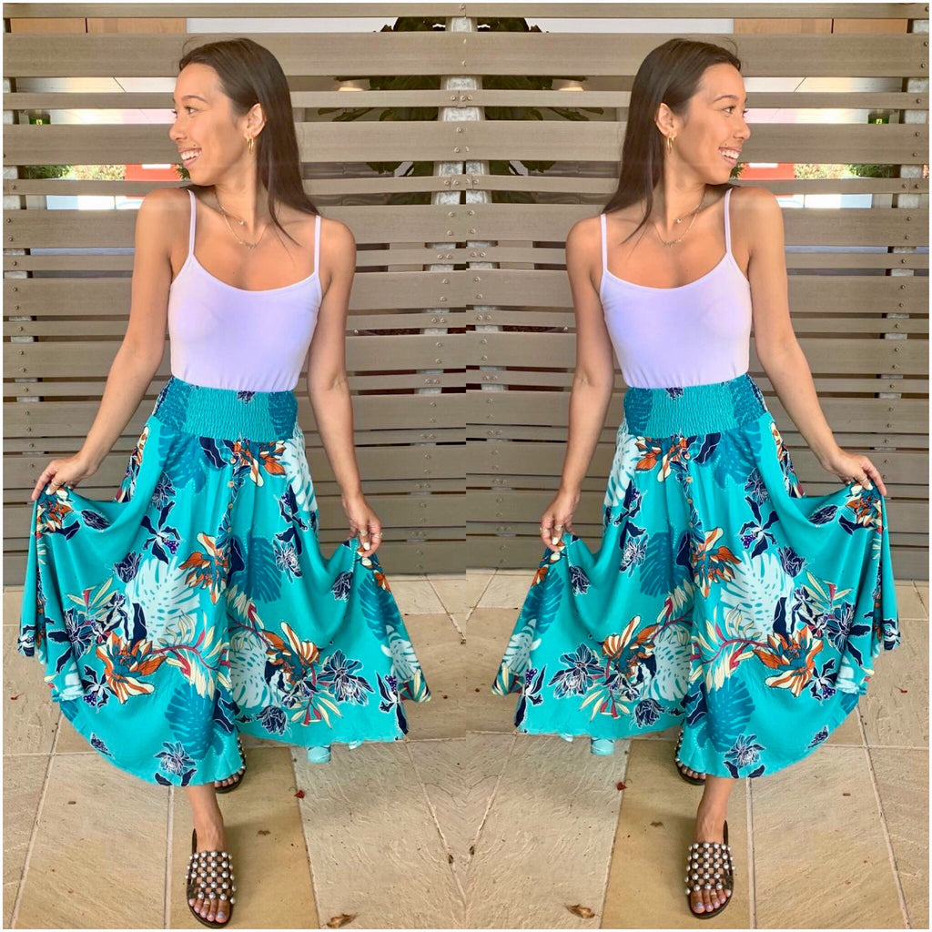Willow Tree Floral Print Maxi Skirt Teal
