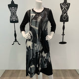 Missy Q Abstract Print Long Sleeve Dress Black-Grey