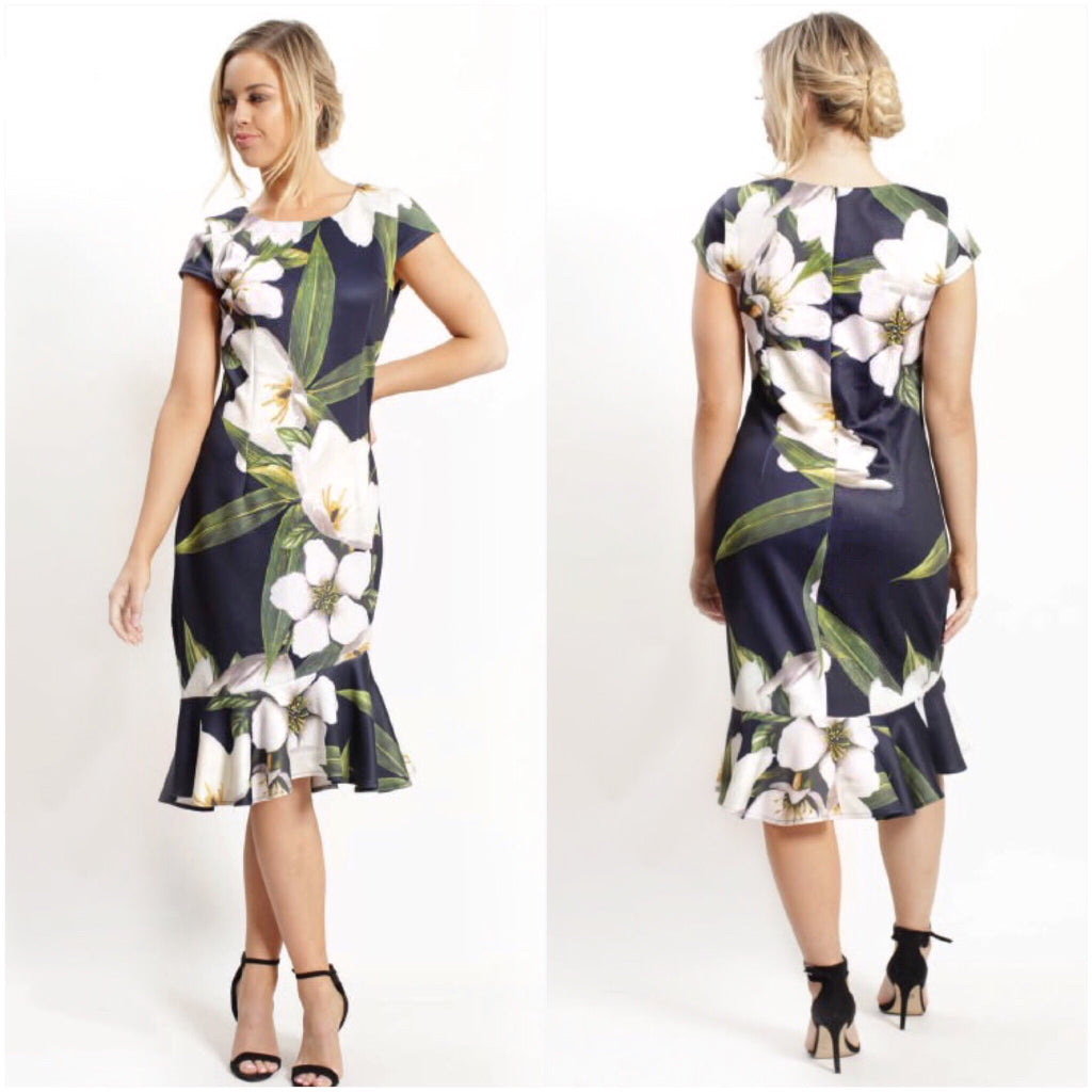 Teaberry Floral Leaf Print Frill Hem Dress Navy