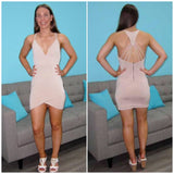 Kaylee String Back Dress Nude