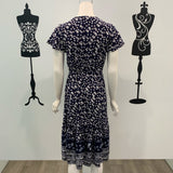 Lucy Floral Border Print Midi Dress Navy