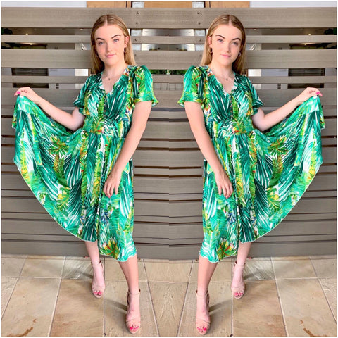 Willow Tree Abstract Leaf Print Midi Dress Green