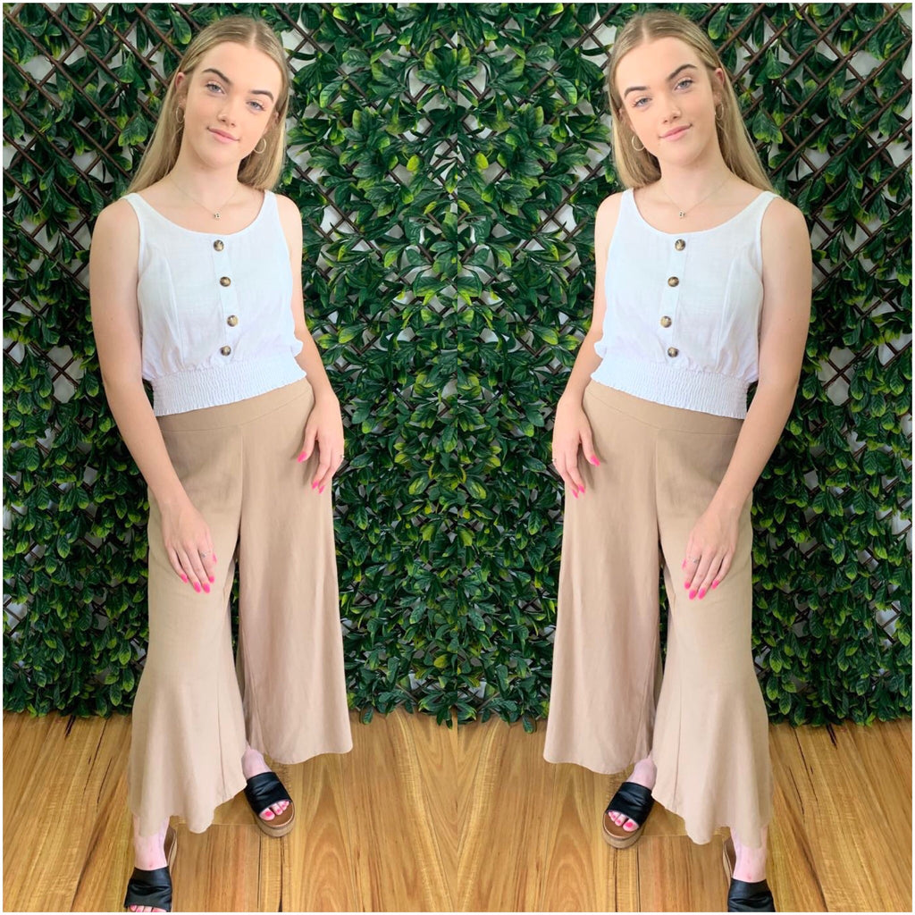 Silver Wishes Linen Wide Legged Pants Mocha