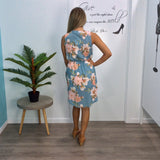Lorissa Floral Bloom Print Dress Aqua