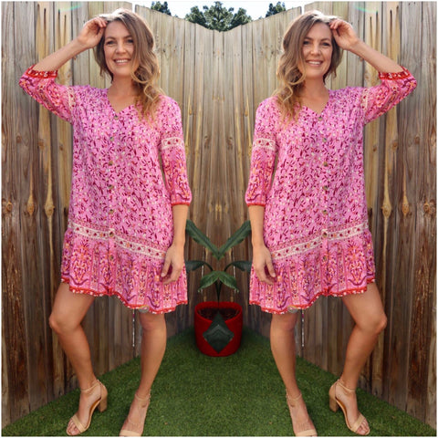 Silver wishes Border Print Mid-Sleeve Dress Pink