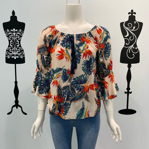 Missy Q Tropical Print frill Sleeve Top