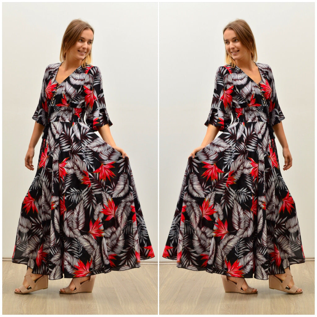 Silver Wishes Bird Of Paradise Print Frill Sleeve Maxi