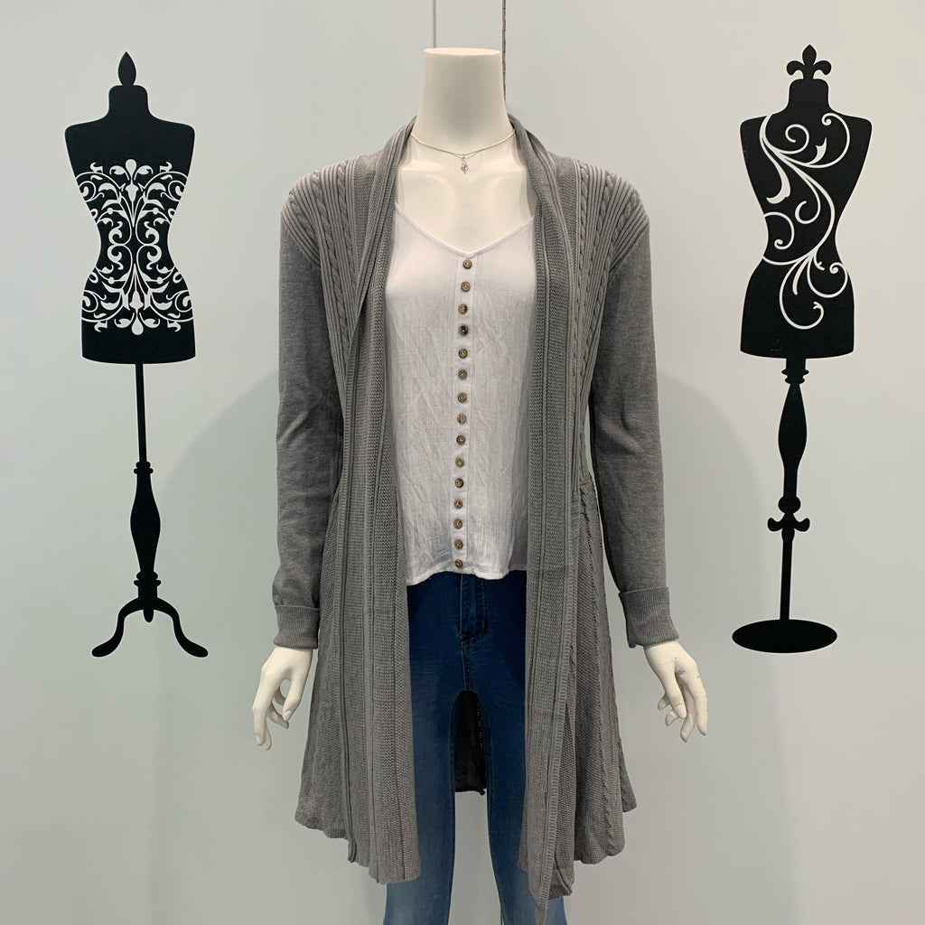 Missy Q Open Long Cotton Cardigan Grey