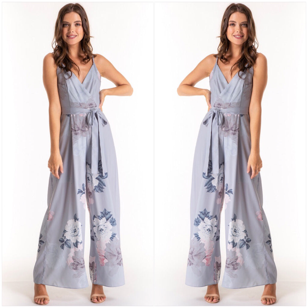 Ashley Floral Print Jumpsuit Powder Blue