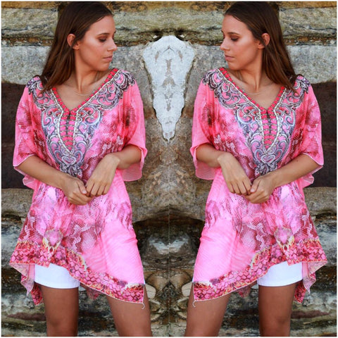 Isabella Boho Abstract Print Kaftan Pink