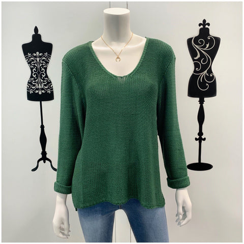 Silver Wishes Roll Up Sleeve Knit Jumper Emerald