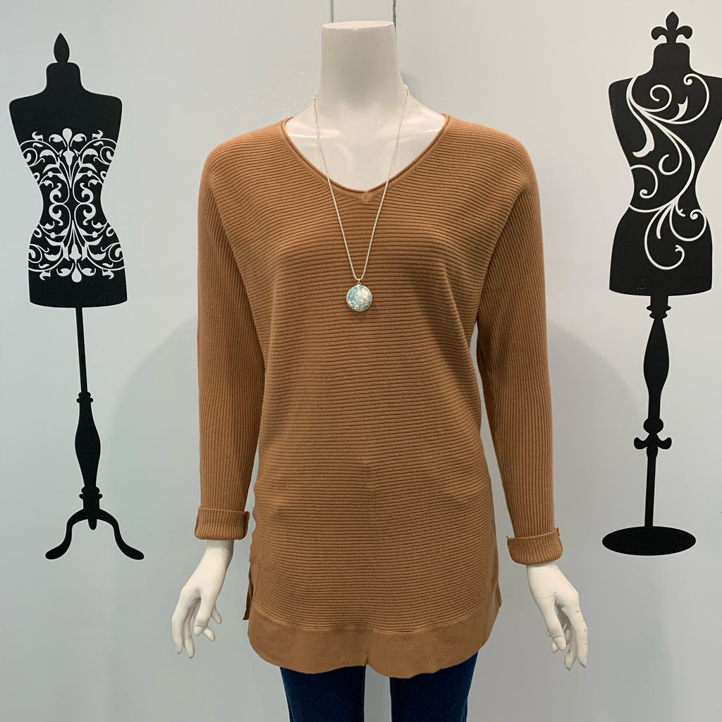 Silver Wishes Ribbed Long Cotton Jumper Mocha