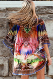 Isabella Boho Abstract Print Kaftan Cobalt Blue
