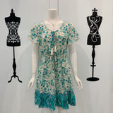 Cora Wild Flower Print Dress in Aqua